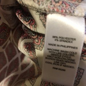Express Tops - Express Red and White Patterned Blouse, Size S